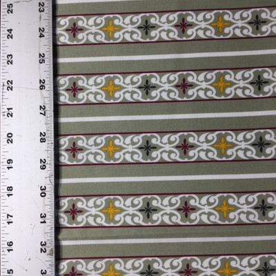 """Perfectly Poppy Decorative Stripes   Green / Red / Yellow   Quilting Fabric   Robert Kaufman   44"""" Wide   By the Yard"""