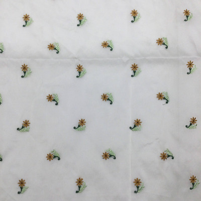 beige floral embroidered organza fabric