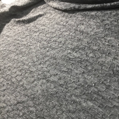 heather grey with butterfly stitch sweater knit fabric