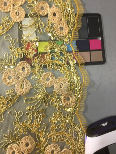 gold paisley floral applique lace fabric