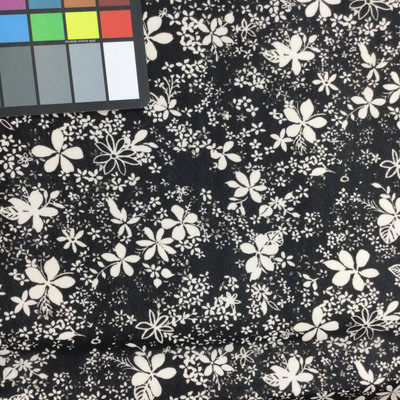 black and white floral print mesh fabric