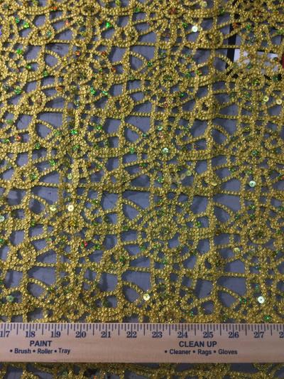 gold lattice sequin fabric