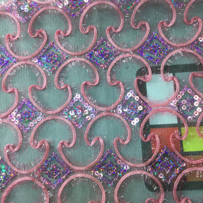 pink sequin lace special occasion fabric