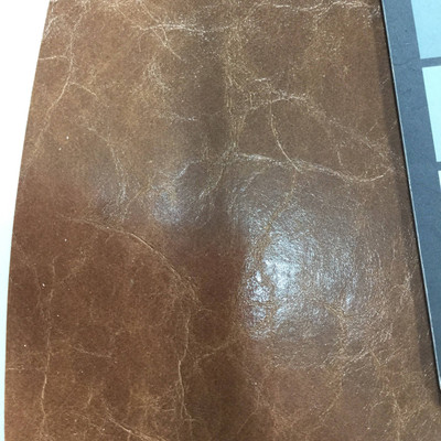 2.05 Yard Piece of Faux Leather Vinyl Fabric | Glossy Brown Medium Grain | Felt-Backed | Upholstery / Bag Making | 54 Wide