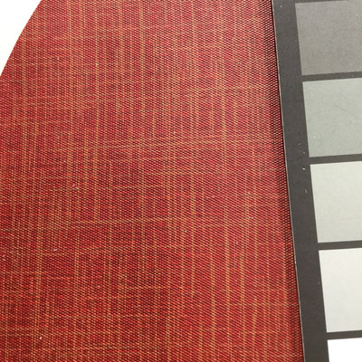 2.55 Yard Piece of Vinyl Fabric   Two Toned Dark Red Woven Texture   Felt-Backed   Upholstery / Bag Making   54 Wide