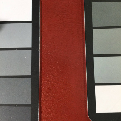 2.4 Yard Piece of Faux Leather Vinyl Fabric | Dark Red Medium Grain | Felt-Backed | Upholstery / Bag Making | 54 Wide