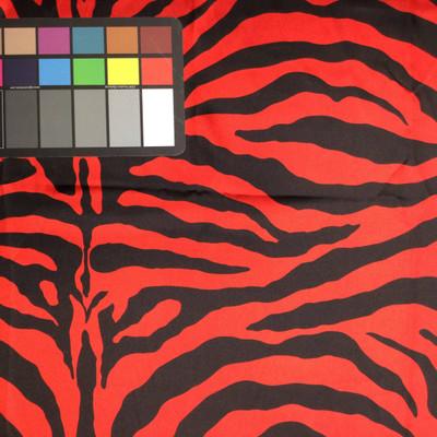red black zebra print poly satin fabric