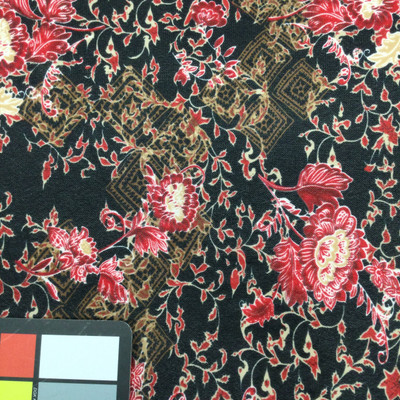 black and red floral mesh fabric
