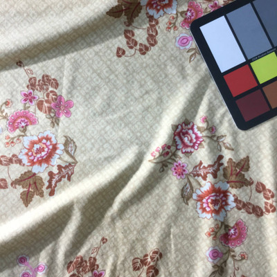 beige pink floral knit jersey fabric