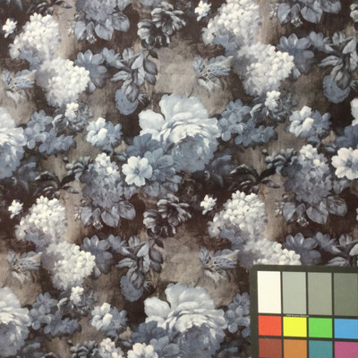 blue floral suede microfiber fabric