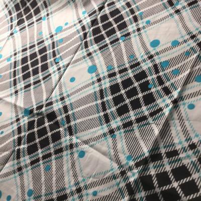 teal black white plaid dot print lightweight woven fabric