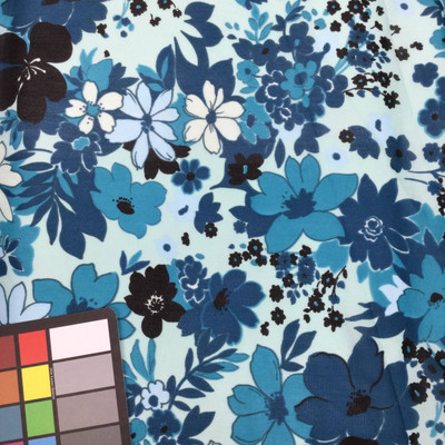 shades of blue floral print mesh fabric