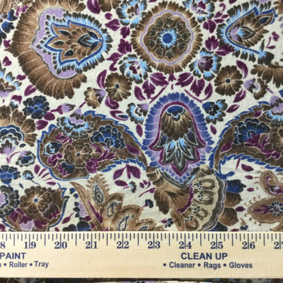 purple beige floral paisley sheer knit fabric