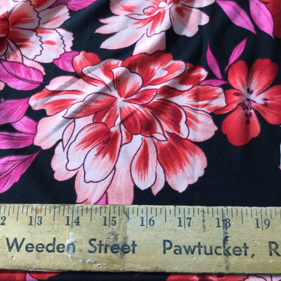 black pink red floral knit jersey fabric