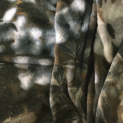 grey bronze floral sheer knit fabric