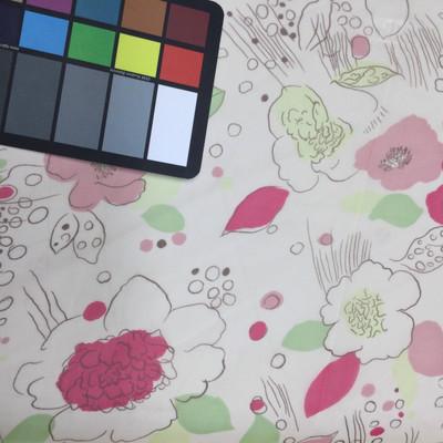 pink green abstract floral print chiffon fabric