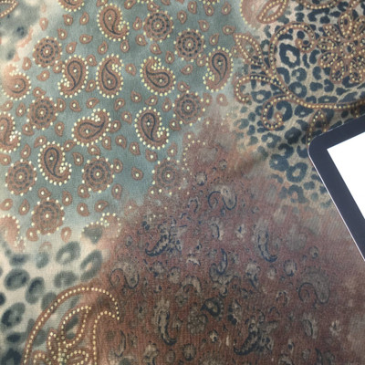 brown grey gold leopard print with floral design sheer knit fabric