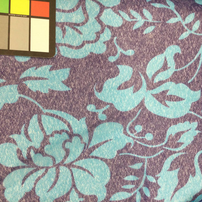 blue teal tropical floral mesh fabric