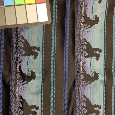 black blue silver cowboy western woven fabric
