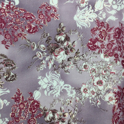 purple magenta floral print w silvery accents mesh fabric