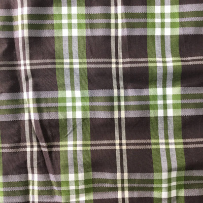 brown and green plaid fabric