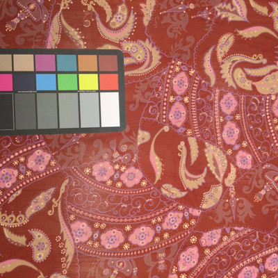 burgundy pink purple paisley print chiffon fabric