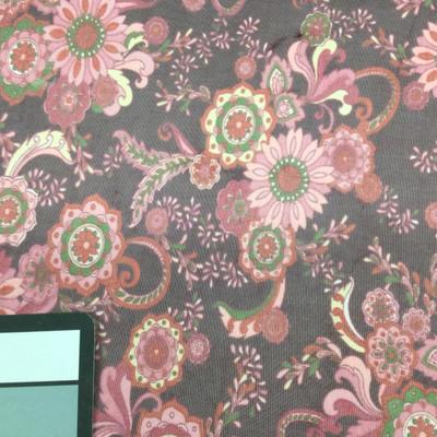 purple pink paisley print mesh fabric