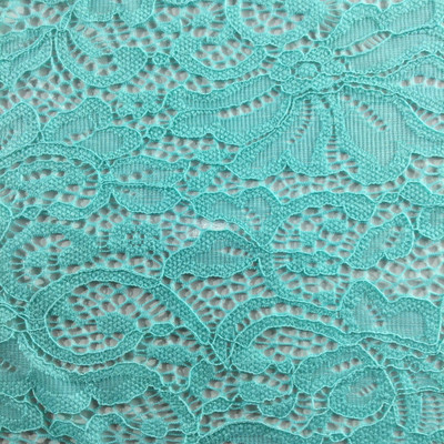 """Mint Green Stretch Lace Fabric 