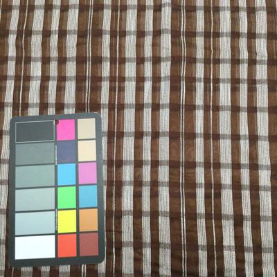 brown white plaid chiffon fabric