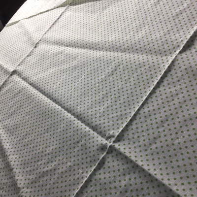 green dot print silver stripe lightweight woven fabric