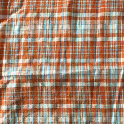 orange blue plaid fabric