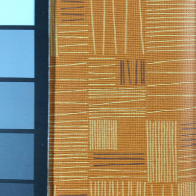 3.92 Yard Piece of Vinyl Fabric | Retro Orange Geometric | Upholstery / Bag Making | 54 Wide