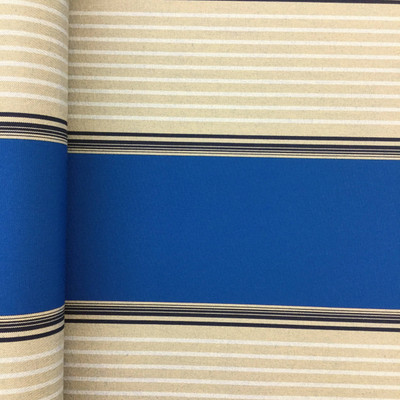 """2.8 Yard Piece of Vintage Striped Sunbrella   Blue / Beige / Gray   Outdoor Awning / Upholstery   46"""" Wide"""