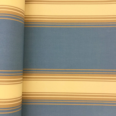 """2.8 Yard Piece of Vintage Striped Sunbrella   Blue / Beige / Tan   Outdoor Awning / Upholstery   46"""" Wide"""