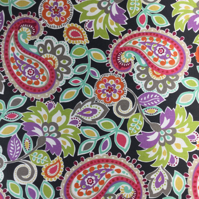 """Ollie Floral by P/Kaufmann   Black, Green, Purple, Orange, Yellow, White   Home Decor Fabric   Drapery / Slipcovers  46"""" Wide   By the Yard"""