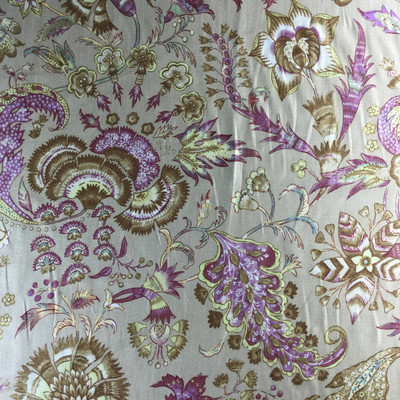 """Grand Palanpore in Purple, Tan, and Gold from The Colonial Williamsburg Foundation   Home Decor Fabric   Drapery / Slipcovers   54"""" Wide   By the Yard"""