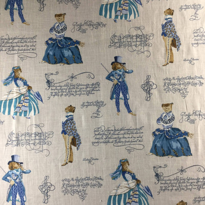 """Belle of the Ball by P/Kaufmann   Blue / Brown   Home Decor Fabric   Light Upholstery / Drapery   Linen-like    54"""" Wide   By the Yard"""