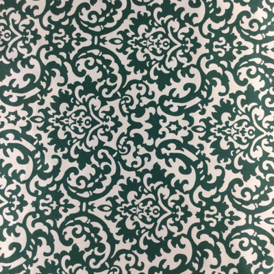 """Duncan Damask by Waverly   Green / Off White   OUTDOOR Home Decor Fabric   Upholstery / Cushions   54"""" Wide   By the Yard"""