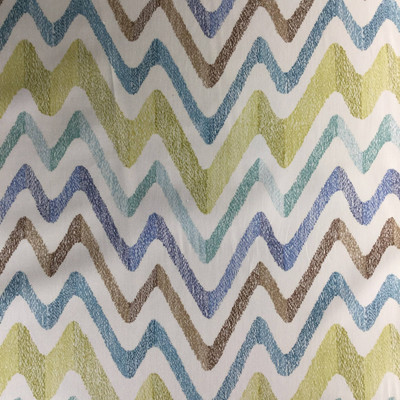 Stitch Chevron in Cucumber by P/Kaufmann | Green / Blue / White | Home Decor Fabric | Drapery / Light Upholstery | 54 Wide | By the Yard