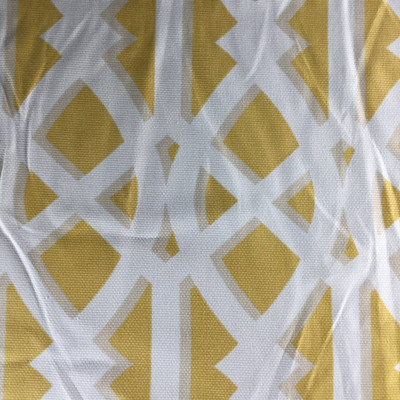 """Elton Lattice by P/Kaufmann   Yellow, Beige, White   Basketweave Home Decor Fabric   Upholstery /  Heavy Drapery   54"""" Wide   By the Yard"""