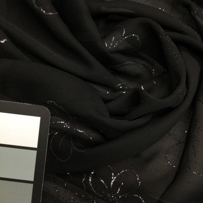 black with silver sparkle flowers chiffon fabric