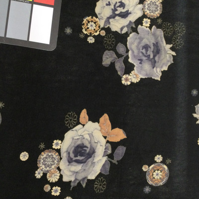 Grey and Caramel Floral on Black
