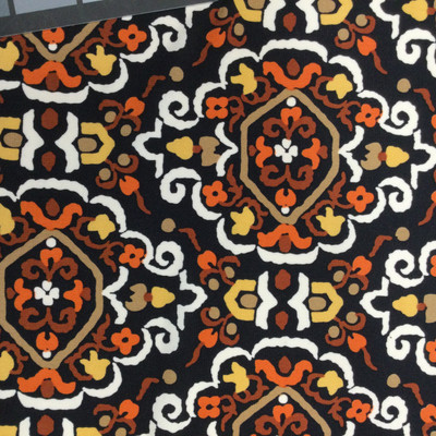 Brown/Yellow/Orange Diamond Paisley on Smooth Poly-Knit