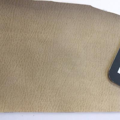 1.3 Yard Piece of Faux Leather Vinyl Fabric | Dark Beige Medium Grain | Felt-Backed | Upholstery / Bag Making | 54 Wide