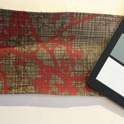 2 Yard Piece of Vinyl Fabric   Red Branches on Brown   Felt-Backed   Upholstery / Bag Making   54 Wide