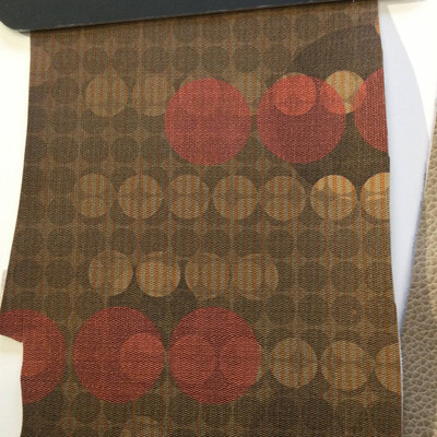 3.5 Yard Piece of Vinyl Fabric   Retro Geometric Dots Brown / Red   Upholstery / Bag Making   54 Wide