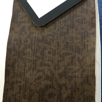 6.3 Yard Piece of Vinyl Fabric | Two Toned Brown Squiggles with Slub Texture | Upholstery / Bag Making | 54 Wide