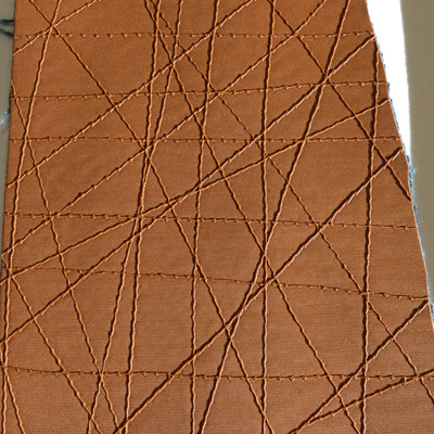 6.3 Yard Piece of Vinyl Fabric | Burnt Orange Stitched Texture | Felt-Backed | Upholstery / Bag Making | 54 Wide