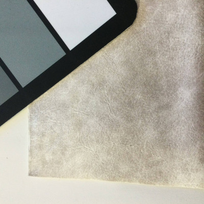 2.8 Yard Piece of Faux Leather Vinyl Fabric   Mottled Pearly Off-White   Felt-Backed   Upholstery / Bag Making   54 Wide