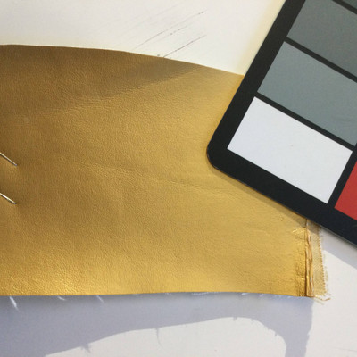 6.5 Yard Piece of Faux Leather Vinyl Fabric | Gold Light Grain | Felt-Backed | Upholstery / Bag Making | 54 Wide